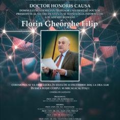 """Universitatea """"Aurel Vlaicu"""" din Arad vă invită la acordarea titlului DOCTOR HONORIS CAUSA DOMNULUI ACADEMICIAN PROFESOR UNIVERSITAR DOCTOR FLORIN GHEORGHE FILIP"""